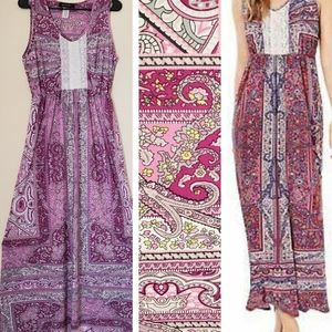 Boho Peasant maxi dress small lace crochet purple